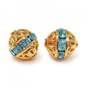 8mm Aqua on Gold Filigree Rhinestone Ball