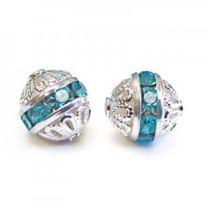 8mm Aqua on Silver Filigree Czech Rhinestone Ball