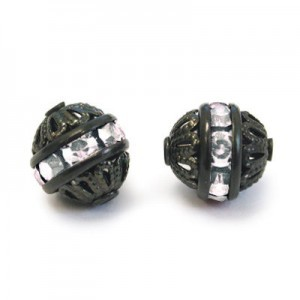 8mm Crystal on Black Filigree Czech Rhinestone Ball
