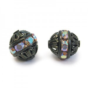 8mm Crystal AB on Black Filigree Czech Rhinestone Ball