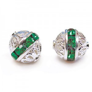8mm Emerald on Silver Filigree Czech Rhinestone Ball