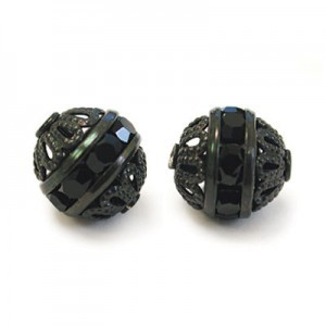 8mm Jet on Black Filigree Czech Rhinestone Ball