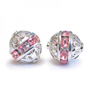 8mm Light Rose on Silver Filigree Czech Rhinestone Ball