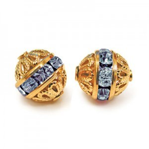 8mm Light Sapphire on Gold Filigree Czech Rhinestone Ball