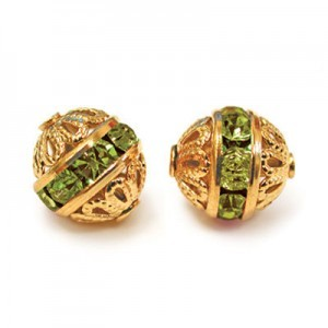 8mm Olivine on Gold Filigree Czech Rhinestone Ball