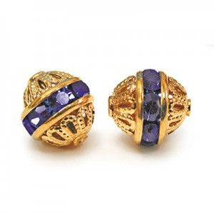8mm Sapphire on Gold Filigree Czech Rhinestone Ball