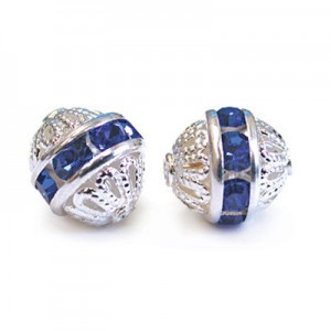 8mm Sapphire on Silver Filigree Rhinestone Ball