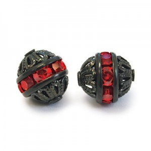 8mm Light Siam on Black Filigree Czech Rhinestone Ball