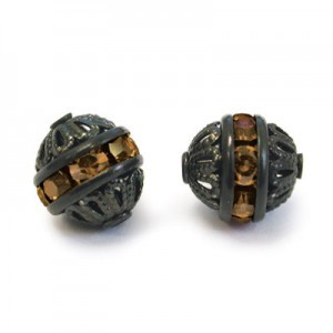 8mm Smoke Topaz on Black Filigree Czech Rhinestone Ball