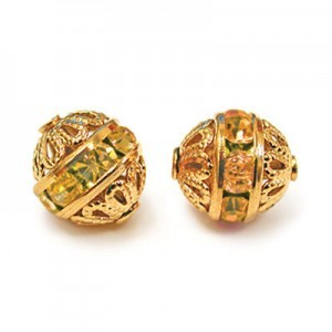 8mm Topaz on Gold Filigree Czech Rhinestone Ball