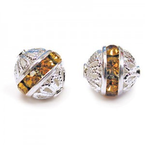 8mm Topaz on Silver Filigree Czech Rhinestone Ball