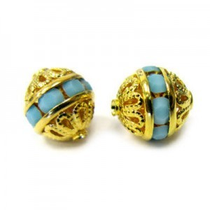 8mm Turquoise on Gold Filigree Czech Rhinestone Ball
