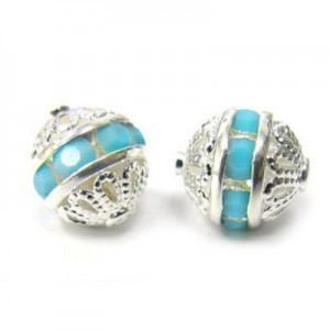 8mm Turquoise on Silver Filigree Czech Rhinestone Ball