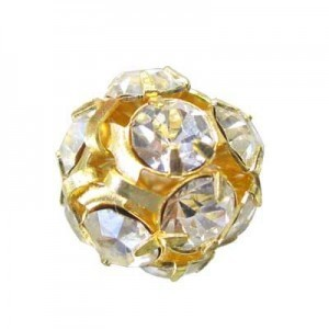 16mm Crystal on Gold Rhinestone Balls