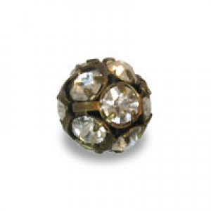 12mm Crystal on Antique Brass Rhinestone Balls