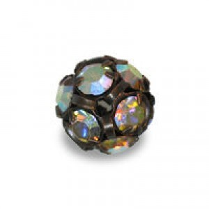 12mm Crystal AB on Antique Copper Rhinestone Balls