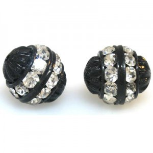12mm Crystal on Black Fancy Czech Rhinestone Ball