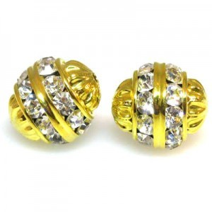 12mm Crystal on Gold Fancy Czech Rhinestone Ball