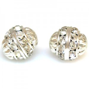 12mm Crystal on Silver Fancy Czech Rhinestone Ball
