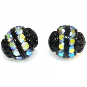 12mm Crystal AB on Black Fancy Czech Rhinestone Ball