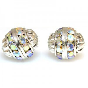 12mm Crystal AB on Silver Fancy Czech Rhinestone Ball