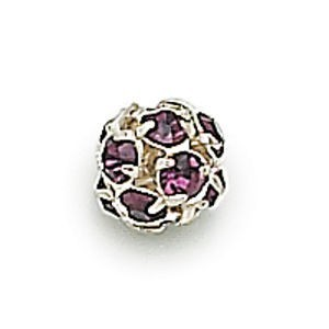 8mm Amethyst on Silver Rhinestone Balls