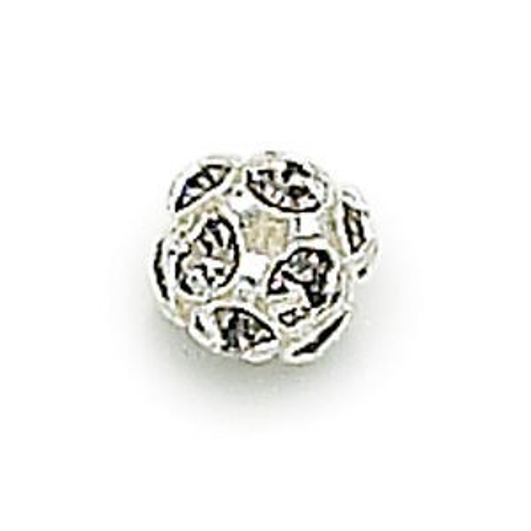 10mm Black Diamond on Silver Rhinestone Balls