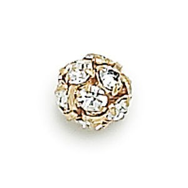 8mm Crystal on Gold Czech Rhinestone Balls