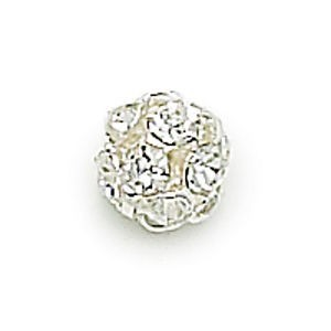 8mm Crystal on Silver Rhinestone Balls