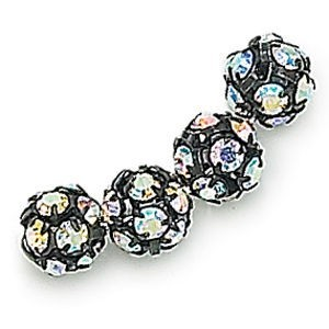 6mm Crystal AB on Black Rhinestone Balls