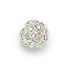 8mm Crystal AB on Silver Rhinestone Balls