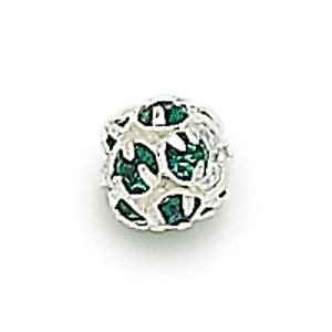 8mm Emerald on Silver Rhinestone Balls