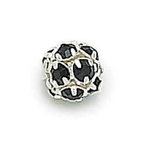 8mm Jet on Silver Rhinestone Balls