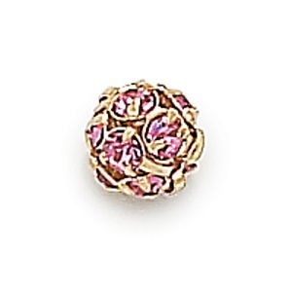 6mm Light Rose on Gold Rhinestone Balls