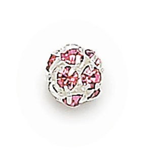 6mm Light Rose on Silver Rhinestone Balls