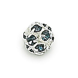 8mm Montana on Silver Rhinestone Balls
