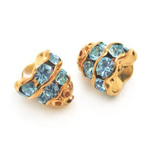 7mm Aqua on Gold Filigree Rhinestone Cap