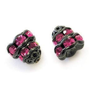 7mm Fuchsia on Black Filigree Rhinestone Cap