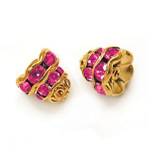 7mm Fuchsia on Gold Filigree Rhinestone Cap
