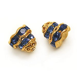 7mm Sapphire on Gold Filigree Rhinestone Cap