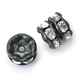 8mm Crystal on Black Rhinestone Rondelles