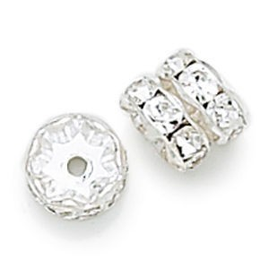 8mm Crystal on Silver Rhinestone Rondelles