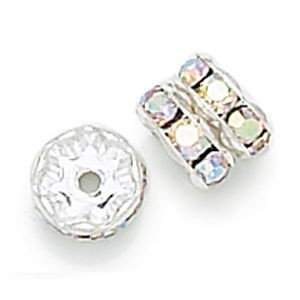 6mm Crystal AB on Silver Rhinestone Rondelles