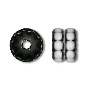 8mm Chalk White X.B. on Black Rhinestone Rondelles