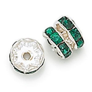5mm Emerald on Silver Rhinestone Rondelles