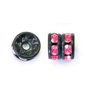 6mm Fuchsia on Black Czech Rhinestone Rondelles