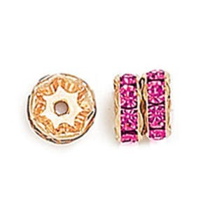 8mm Fuchsia on Gold Rhinestone Rondelles
