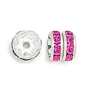 8mm Fuchsia on Silver Rhinestone Rondelles