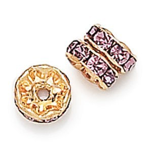 8mm Light Amethyst on Gold Rhinestone Rondelles