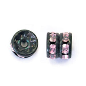 6mm Light Rose on Black Rhinestone Rondelles